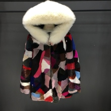 2018 new big collar high quality women real mink fur coat with fox hoody colorful femme winter warm slim outwear parkas