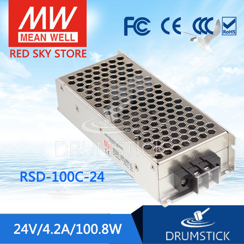 цена на Selling Hot MEAN WELL RSD-100C-24 24V 4.2A meanwell RSD-100 24V 100.8W Railway Single Output DC-DC Converter
