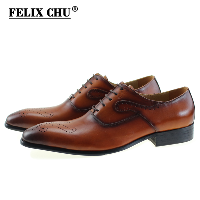 FELIX CHU Luxury Genuine Leather Lace Up Men's Dress Shoes Formal Party Office Man Brown Black Oxfords Rubber Sole #E7185-8 недорого
