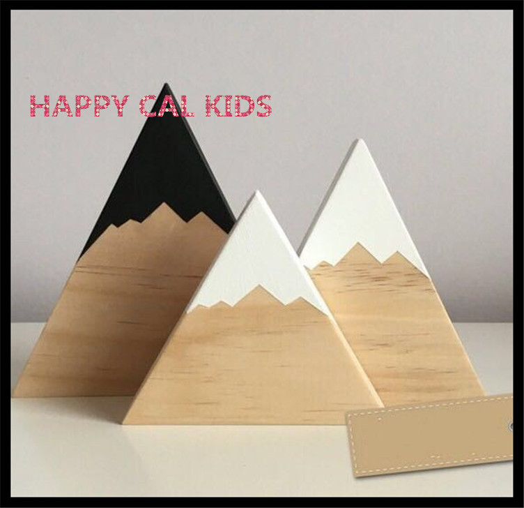 Ins nordic woodland wood mountain decorative handmade kids for Handmade home decorative item