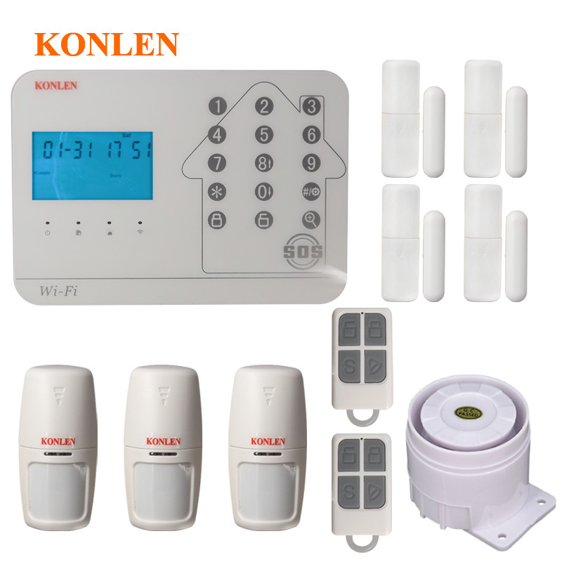 Aliexpress Com   Buy Konlen Wifi Home Security Gsm Pstn Alarm System Kits Wireless Pir Door