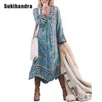 Sukibandra Flower Print Maxi Dress Bohemian Long Sleeve Boho Hippie Style Long Dress Loose Women Tassel