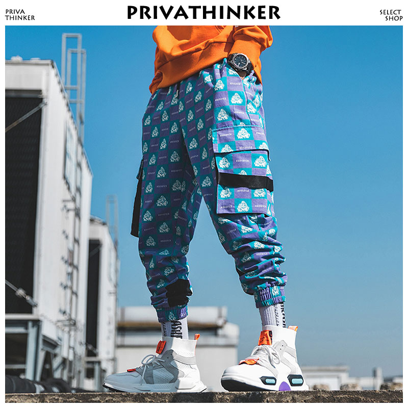 Privathinker Men Funny Full Print Joggers Pants 2019 Mens Streetwear Sweatpants Male Hip Hop Korean Fashions Pocket Track Pants