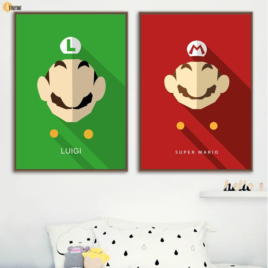 Hot Sale Super Mario Bros Luigi Wall Art Canvas Painting Nordic