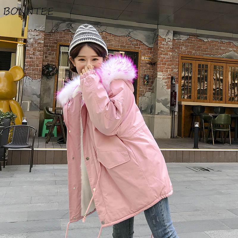Femmes Manteau Parkas allumette Hiver Mode Épais Parka Outwear À Kawaii Coréenne Chaud Nouveau Haute Cordon white La Court Tout Qualité Capuchon Pink dwTqgxwr