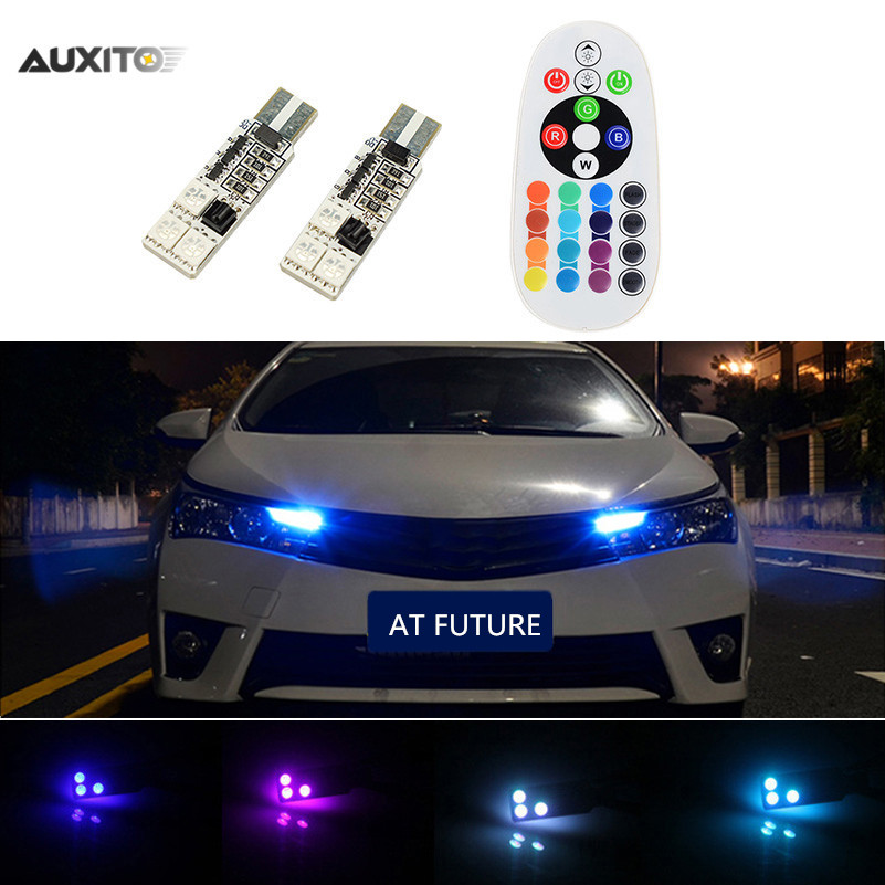 2x Rgb T10 Led Bulb Remote Control Parking Light 16 Color