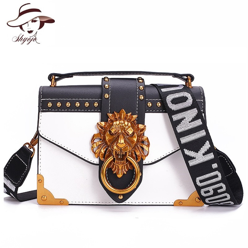 SHYOJO Metal Lion Head Mini Small Square Pack Shoulder Bag