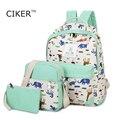 CIKER cute women shoulder bag canvas backpack mochila rucksack printing backpacks for teenage girls 3pcs/set travel bags