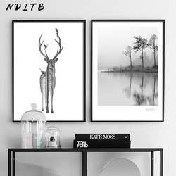 Scandinavian Decoration Deer Forest Canvas Wall Art Poster Abstract Nordic Print Painting Nature Decorative Picture Home Decor