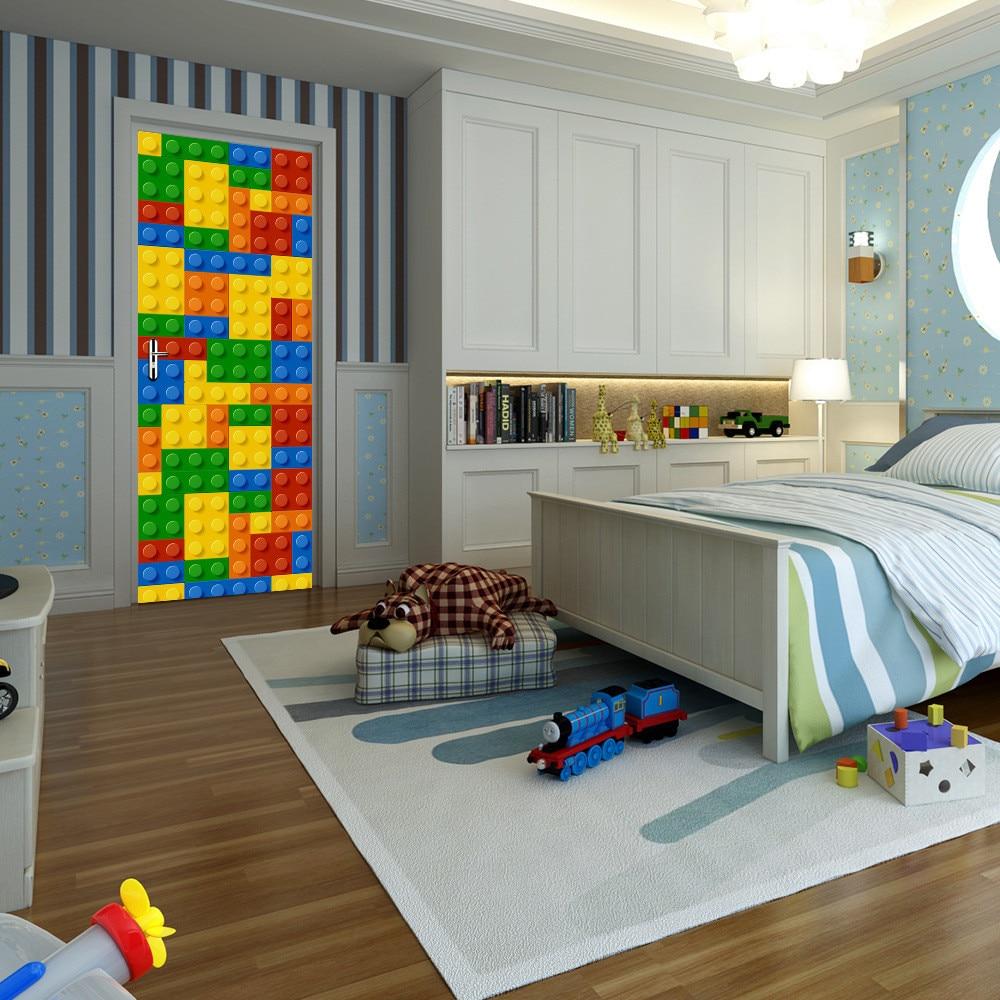 Us 56 31 Off77200cm Building Module Lego Pvc Waterproof Self Adhesive Door Sticker 3d Diy Door Sticker For Bedroom Living Room Home Design In