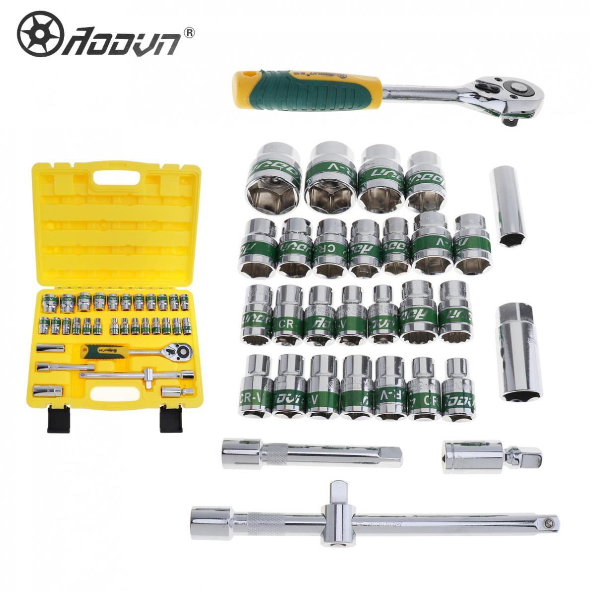 32pcs Automobile Motorcycle Car Repair Tool Box Precision Socket Wrench Set Ratchet Torque Wrench Combo Tool Kit 46pcs socket set 1 4 drive ratchet wrench spanner multifunctional combination household tool kit car repair tools set