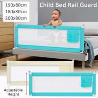 New 1.5 2m Blue/Beig Newborn Baby Safety Fence Guard Adjustable Bed Rail Infant Bed Pocket Playpen Kids Bed Guardrail Crib Rail