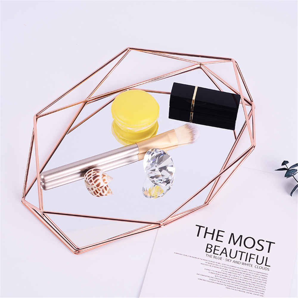 Nordic Metal Mirror Storage Tray Chic Ins Rose Gold Geometry