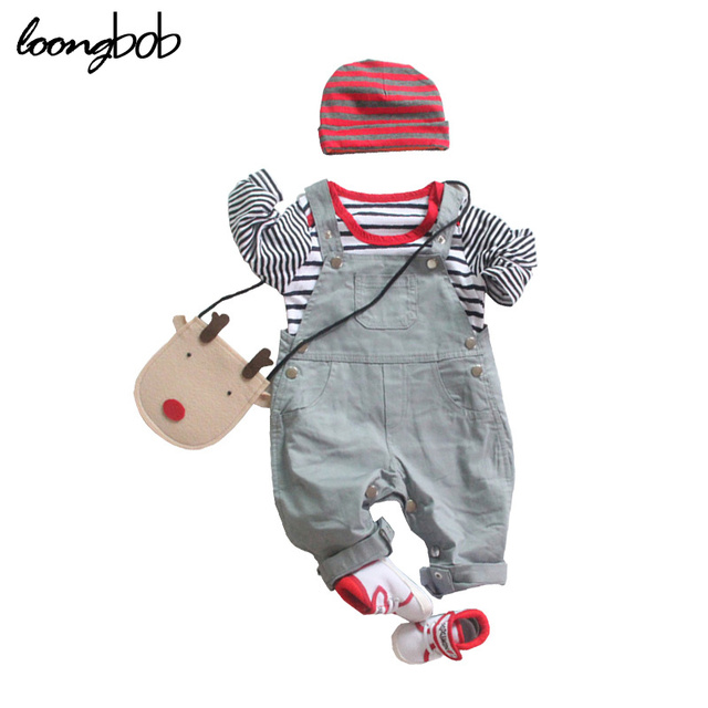 2016 New baby boy 3pcs striped gray set hat + romper shirt+ overalls suspender pants newborn clothes spring autumn outfits suit