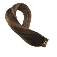 Moresoo Tape in Extensions Human Hair PU Skin Weft Straight Hair Balayage Ombre Color #2/6/2 Hair Glue 20PCS 50G