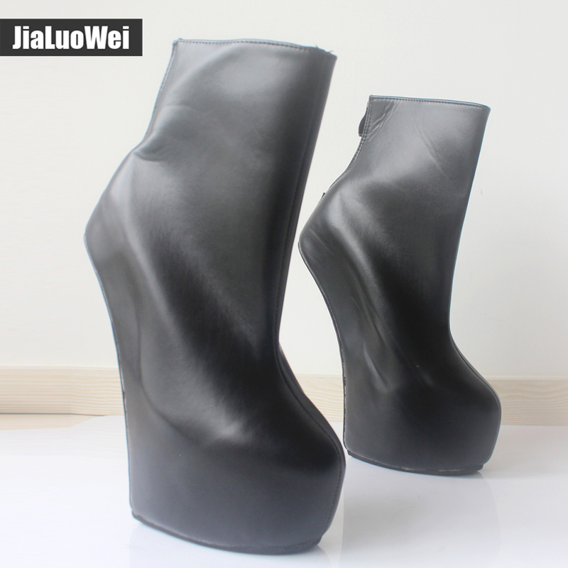 jialuowei 2017 New! 20cm strange High heel 5cm Platform Back Zipper Sexy Fetish Ponying Ankle boots For Women Plus Size 36-46 jialuowei 20cm high heel 5cm platform fetish sexy knee high cross tied heelless wedge horse ponying stallion hoof sole boots