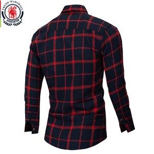 Image 2 - Fredd Marshall 2018 jesień podwójna w całości zapinana na guziki kieszenie koszula w kratę z długim rękawem casualowa łatka koszule męskie regularny krój Plus rozmiar 172