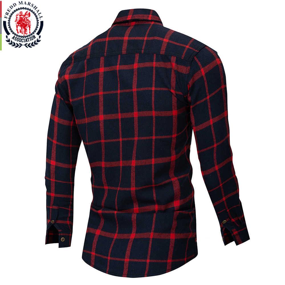 Fredd Marshall, 2018, осенняя клетчатая рубашка с двумя пуговицами и карманами, повседневная мужская рубашка с длинным рукавом и заплатками, обычная посадка размера плюс 172