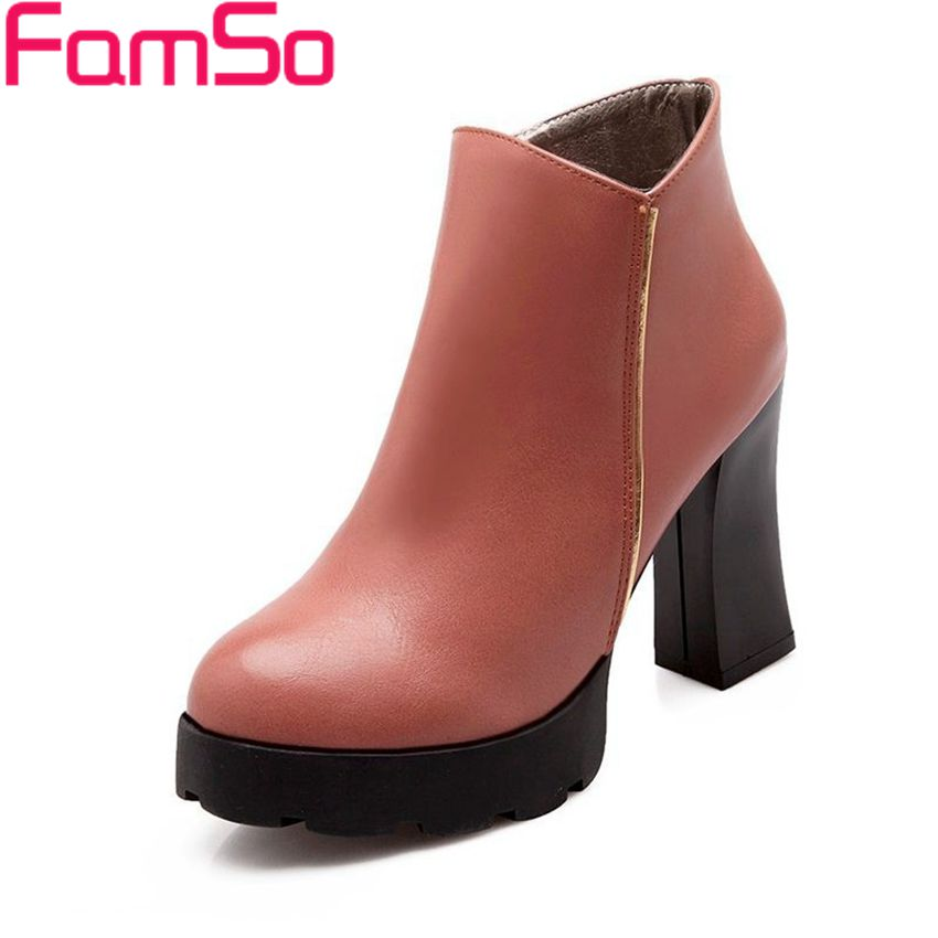 Plus Size34 43 2016 New Sexy font b Women b font High thick Heels Ankle Boots