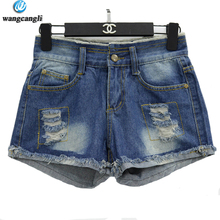 wangcangli 2017 holes shorts fat MM Slim summer new Slim was thin Jeans for Women Blue Girls Stretching Skinny jeans Large Size