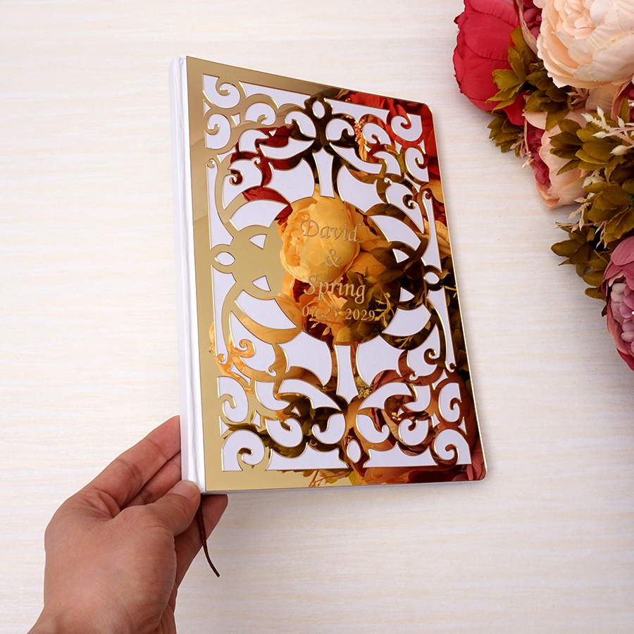 Guest Book Album Hard Covers White Empty Pages Customized Check-in Book Party Gift Wedding Decor 26X19cm Hollow Out Art Design