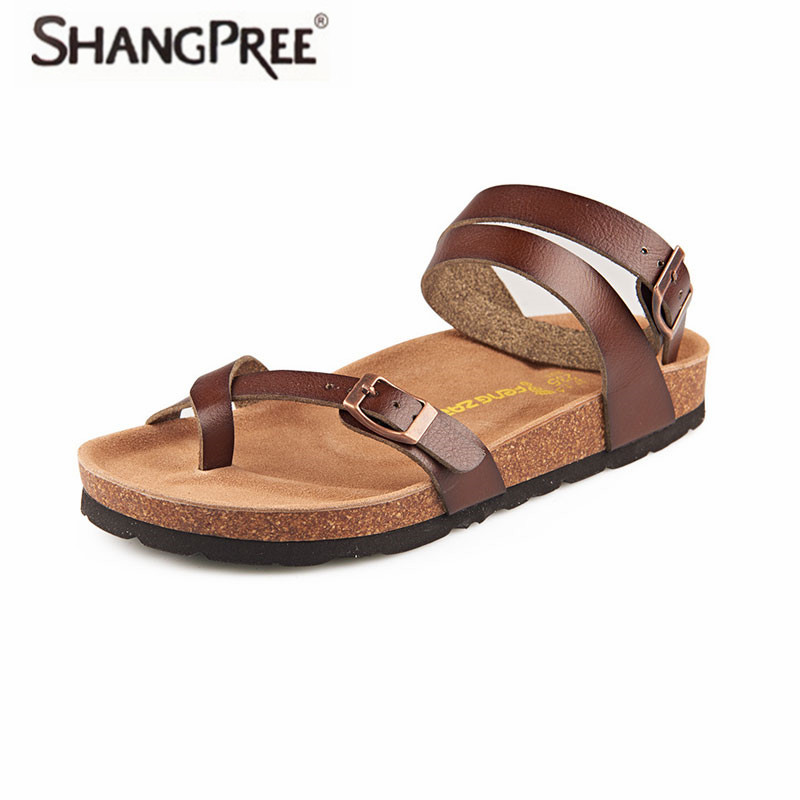 SHANGPREE Fashion Cork Sandals 2018 New Women Summer Buckle Strap Solid Beach Slipper Flip Flops Sandals Shoe Flat with shoes trendy women s sandals with flip flops and strap design