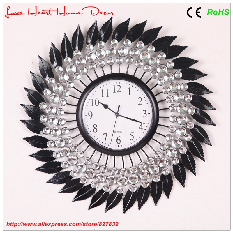 2015 Creative pastoral style large home decoration diamante leaf wall clock - Love Heart Home Decor store
