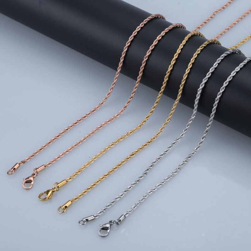 slive 31 inch stainless steel jewelry rose gold chain 80cm twist pendant necklace chain lobster clasp for pendant