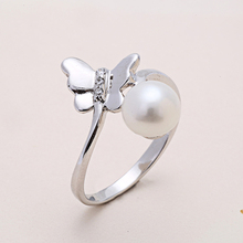[YKIN] Pearl Jewelry 925 Silver Rings For Women Elegant Butterfly Ring Fine Jewelry