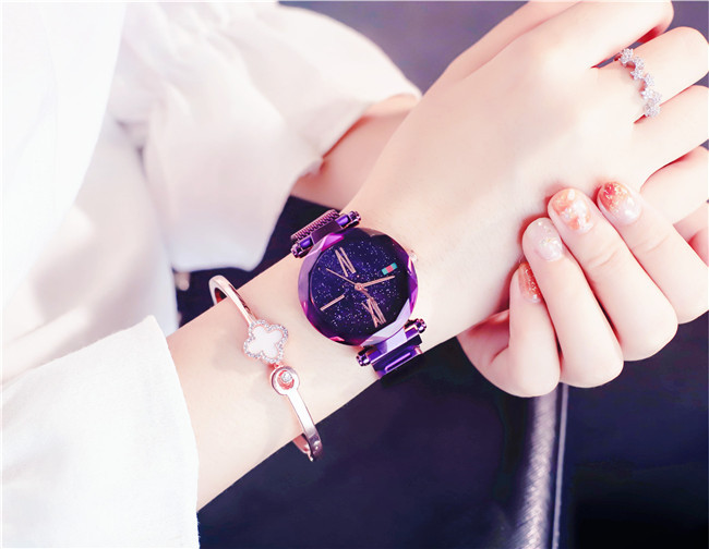 Charming Purple Women Watches Minimalism Casual Starry Sky Lady Wristwatch Magnet buckle Fashion Luxury Brand Female Watch Gift 4