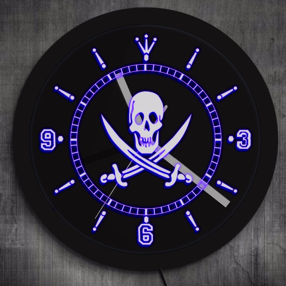 Jolly Roger Pirate Wall Clock With LED Illumination Skull With Crossed Swords LED Neon Sign Wall Clock Pub Bar LED Wall Decor