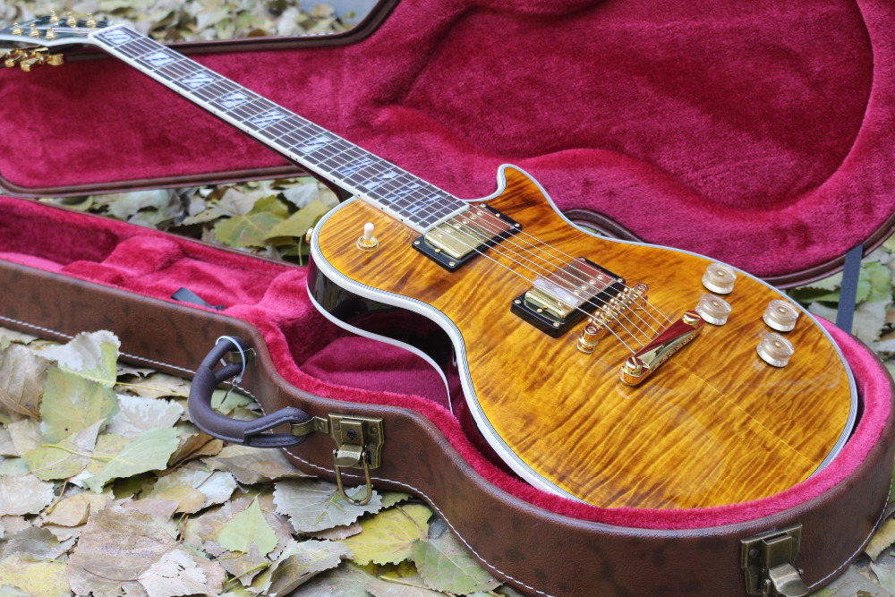 New top quality custom double Tiger Flame Maple top supreme LP Electric Guitar golden hardware EMS