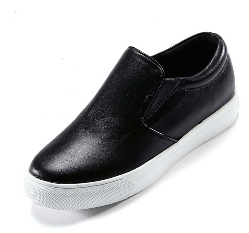 99c3e19f9499 2015 New Autumn Casual Fashion Soft Leather Slip On Round Toe Black Loafers  Women Flats Heel Moccasin Shoes Woman-in Women s Flats from Shoes on ...