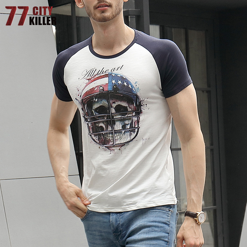 77City Killer 2018 Summer Cotton Military Army T Shirt men Skulls Printing Short Sleeve Casual Slim fit Tactical tshirt hombres