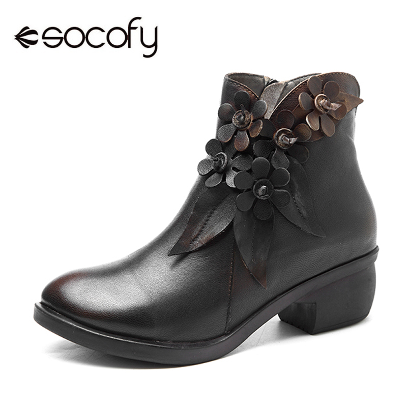 Socofy Genuine Leather Boots Women Shoes Large Size Vintage Flower Ankle Boots For Women Spring Winter Shoes Zipper Ladies Shoes-in Ankle Boots from Shoes    1