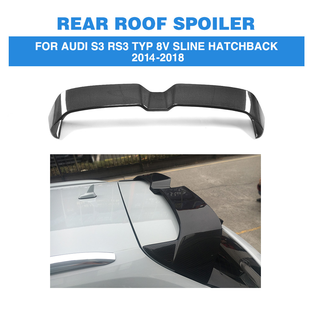 Carbon Fiber Car Rea Roof Spoiler Lip Wing for Audi S3 RS3 Typ 8V SLINE Hatchback 4 Door 1-18 ML Style FRP Black Not fit 2door