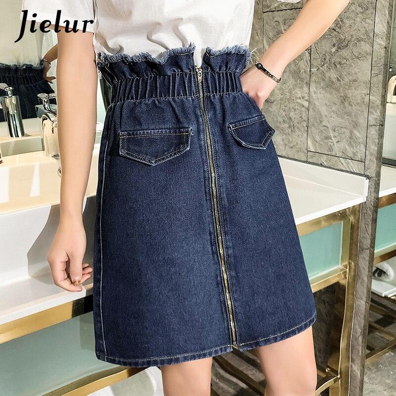 Jielur Plus Size Skirts Ladies A Line Preppy Vintage Street Hipster Elastic Zipper Women Denim Skirt Young Kpop Style Jupe Femme