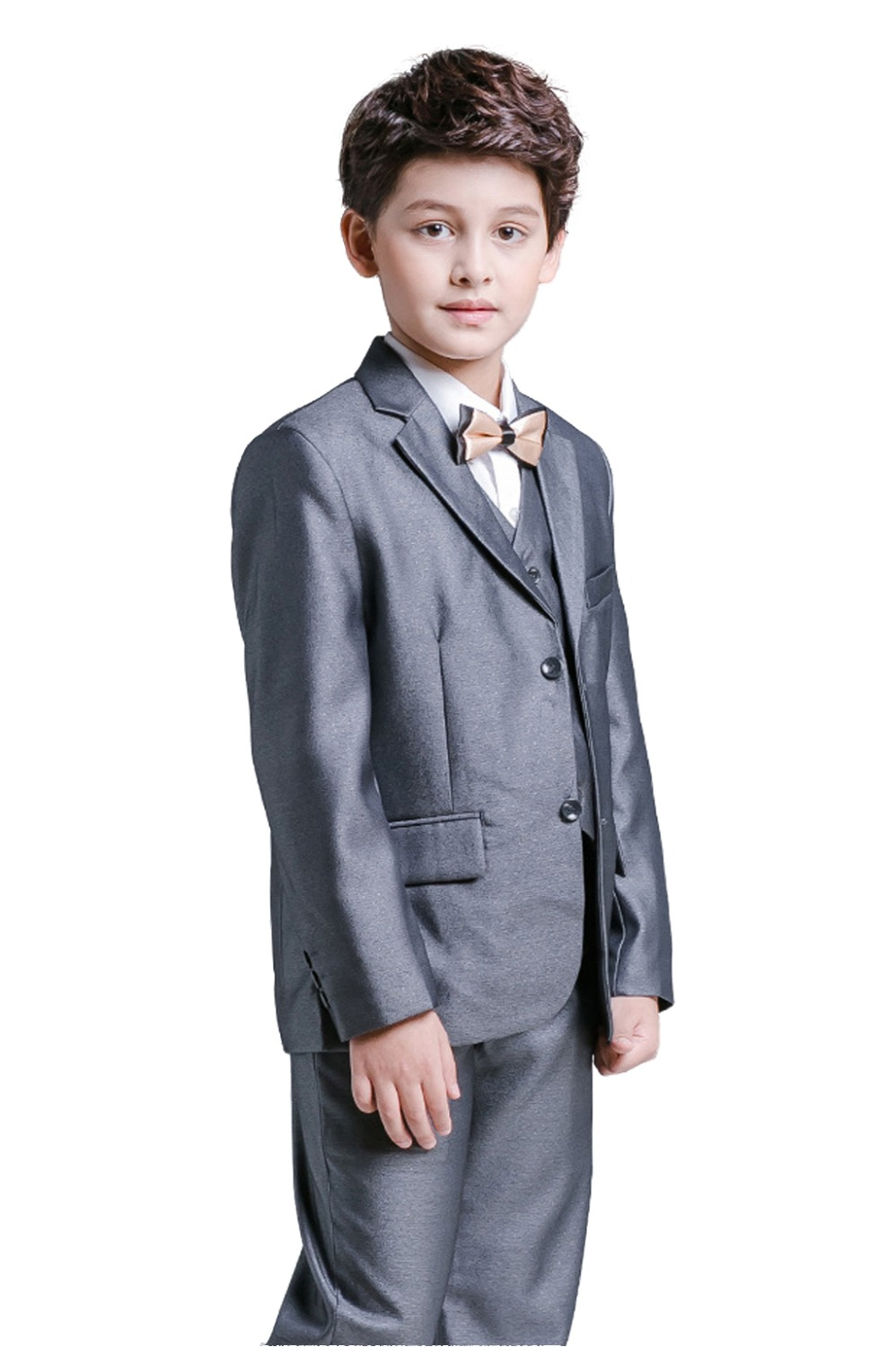 5 Piece Boys Dark Grey Suits Slim Fit Ring Bearer Suit For Boys Formal Classic Costume Weddings цена 2017