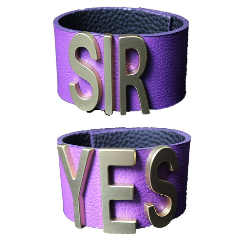 Suicide Squad Yes Sir Letter Bracelets Purple  Cosplay  Harley Quinn Leather Prop Wristband Bracelet for Halloween  Accessories