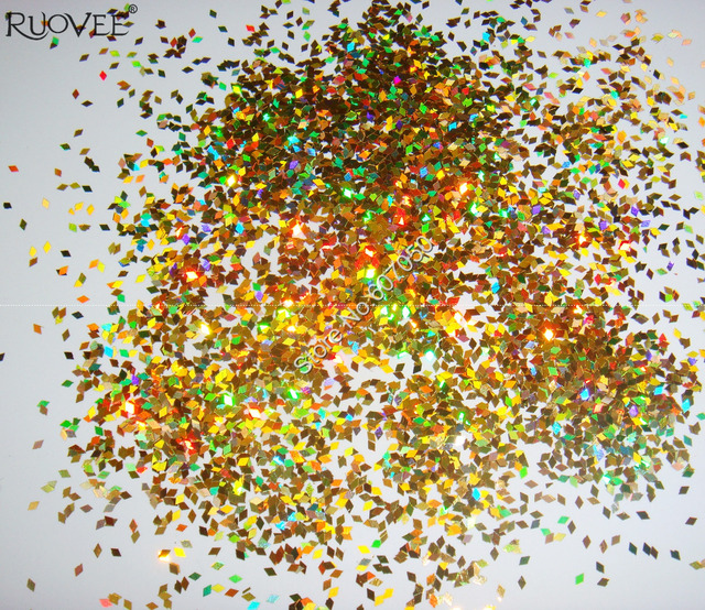 50gram 1MM Laser Holographic Gold Dazzling Diamond Glitter Paillette Spangles Shape for DIY Nail Art Decoration Glitter Crafts