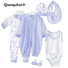8 pcs / set Newborn Set 0-3 M Cute Horizontal Stripes Patten Baby Clothing Set Boy Girl Cotton Cartoon Underwear Kids Clothes