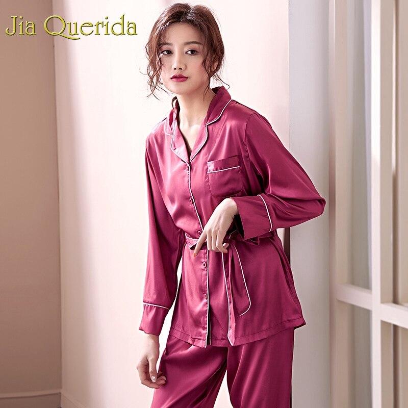 J&Q Women Sleepwear Satin Pijamas 2019 Trendy Home Clothes Satin Pajama Sets Women High Quality Womens Long Sleeves Pyjamas Set