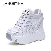 New 2019 Fashion Women Platform High Heels Mesh Breathable Wedge Casual Shoe 10CM Summer Thick Sole Sneakers Woman Outdoor Shoes