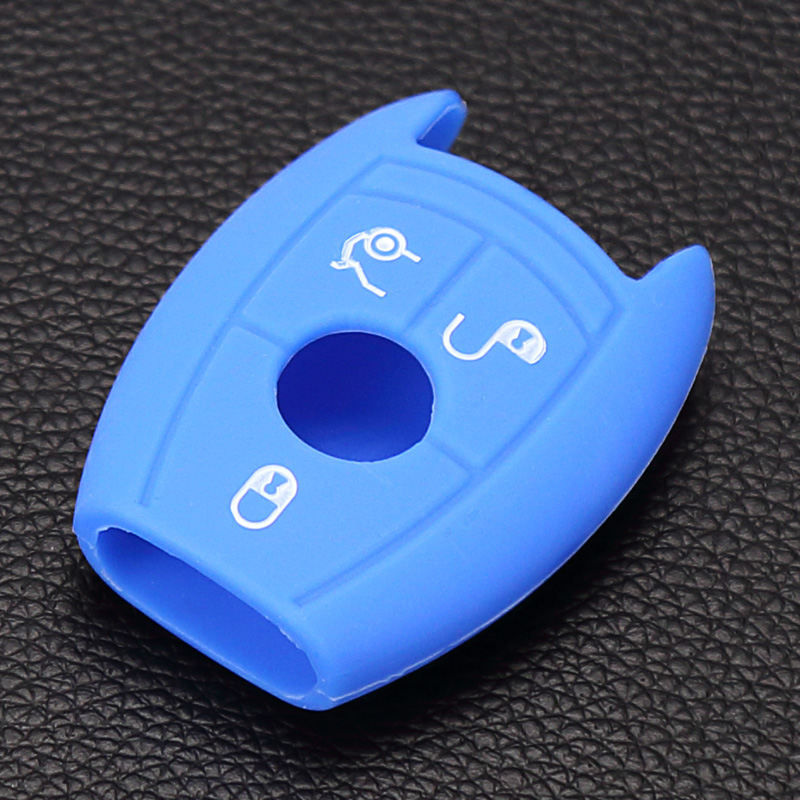 3 button silicone car key cover case shell sticker for mercedes benz w203 w211 CLK c180 e200 AMG C E S class Protection box