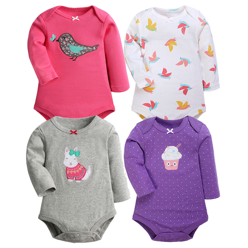 2 Pieces/Lot Cartoon Style Baby Girls Bodysuits Long Sleeves Cotton Spring Clothes New Born Body Baby Ropa For Little Kids