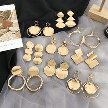 MENGJIQIAO Nuovo di Modo del Metallo di Colore Dell'oro Geometrica del Cerchio Orecchini A Pendaglio Esagera Quadrato Lungo Pendientes Per Le Donne Brincos