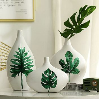 3pcs/set Europe Ceramic vase Turtle leaf flower vases for homes Arts and Crafts porcelain vase home decoration accessories