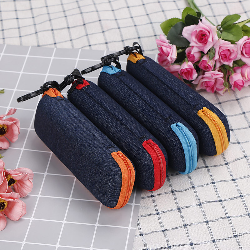 4 Colors Glasses Box Denim Fabric Zipper Sunglasses Protection Crush Resistance Container