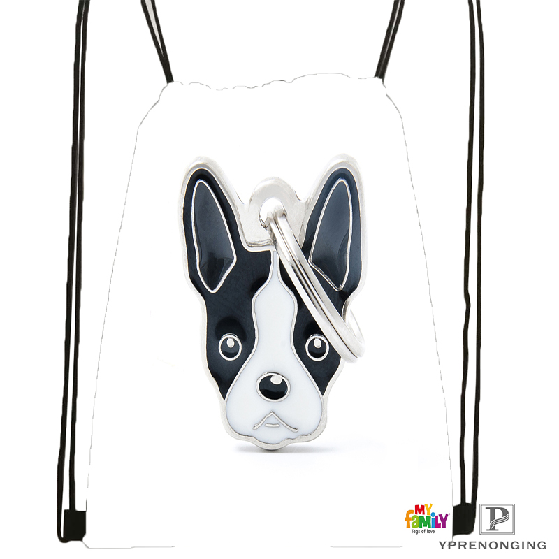 Custom Black White Dog Boston Terrier Drawstring Backpack Bag Cute Daypack Kids Satchel (Black Back) 31x40cm#180531-02-30