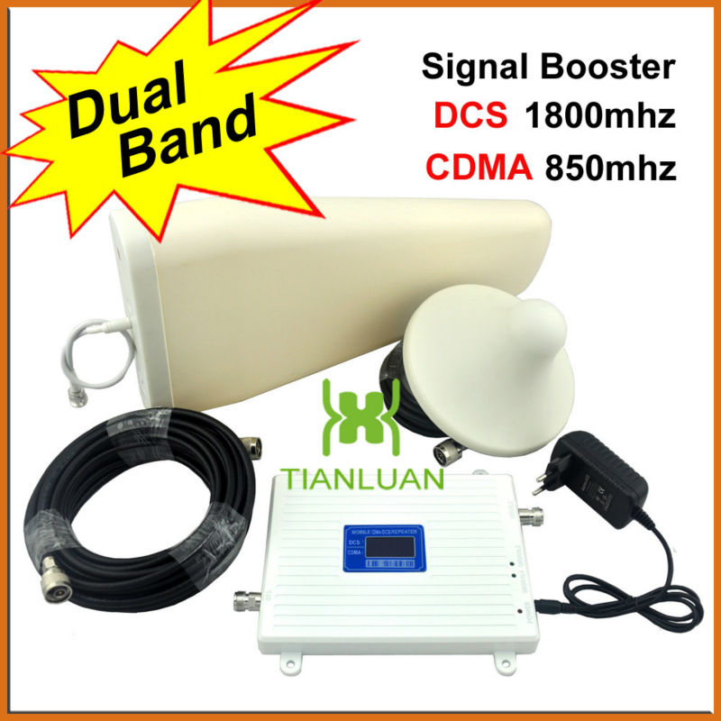 4G DCS 1800Mhz CDMA 850Mhz CellPhone Signal Repeater Booster Amplifier with Ceiling Antenna/Log Periodic Antenna/Dual Band/White4G DCS 1800Mhz CDMA 850Mhz CellPhone Signal Repeater Booster Amplifier with Ceiling Antenna/Log Periodic Antenna/Dual Band/White